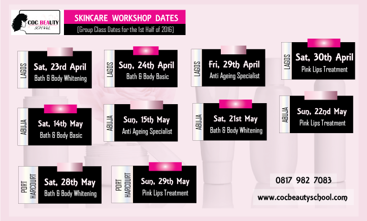 COC Beauty School Skincare Workshop, Dates 2